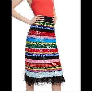 Alice + Olivia Multicoolor Merrill Beaded Skirt